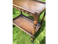 Vintage Wood Tea Trolley with carved detail for sale