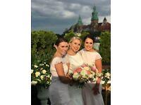 3 light pink bridesmaid dresses