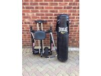 Rowing Machine & Boxing Bag