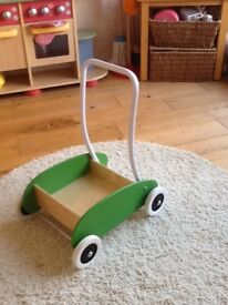Toddlers wooden push along trolley