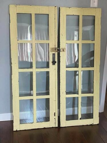 Antique Vtg. Paint Patina Wooden Glass Cabinet Door Pantry Window Panel Pair