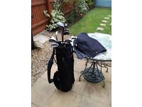 Set of DX Hotblade Golf clubs with Bag, Trolley and assorted golf balls and tees £30 ONO.