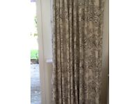 Full length curtains, handmade in a cream and dark grey fabric.