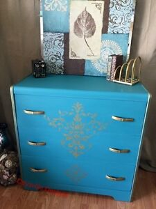 Antique vintage teal and gold 3 drawer dresser with mirror.