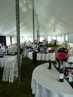 white chair covers, black chair sashes and napkins