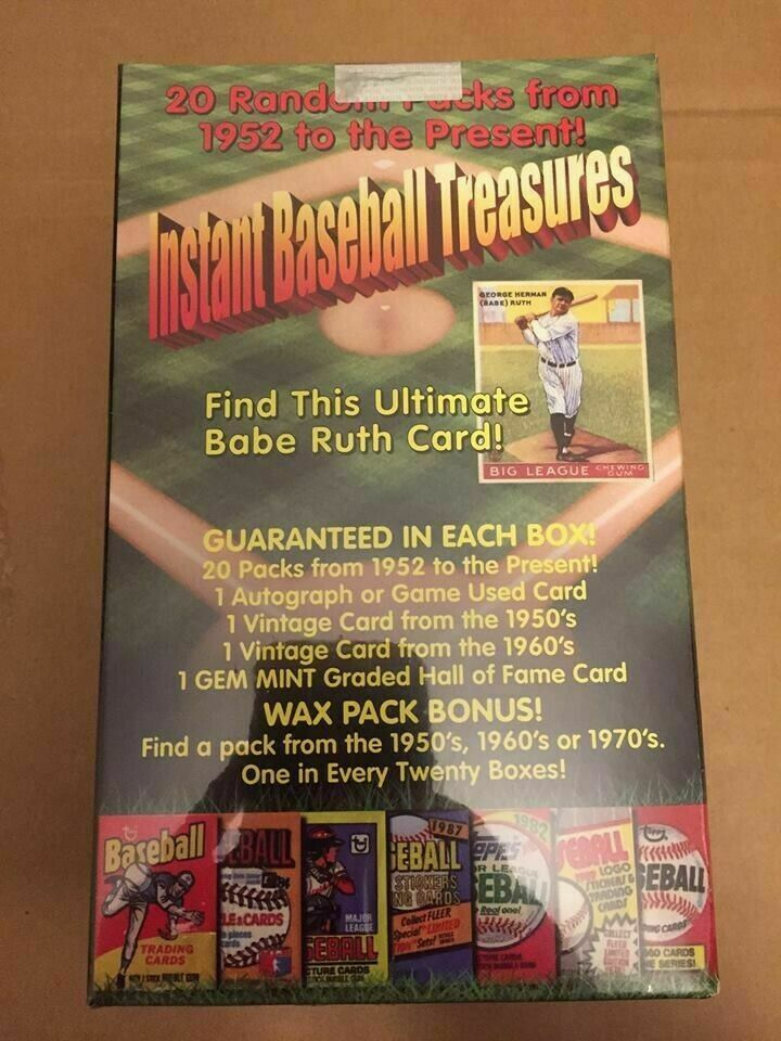 INSTANT BASEBALL TREASURES HOBBY BOX - VINTAGE GEM 10 RELIC AUTO RUTH? - FREE SH For Sale - 2