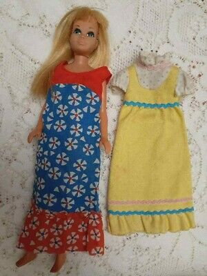 VINTAGE MALIBU SKIPPER BARBIE DOLL & 2 BEST BUY ERA DRESSES CUTE DISPLAY DOLL