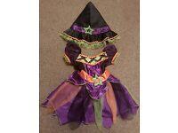 Baby Girls TU Sainsburys Halloween Witch Costume Ex Condition Dress + Hat 3-6 months