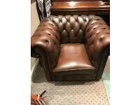Brown Chesterfield club chair