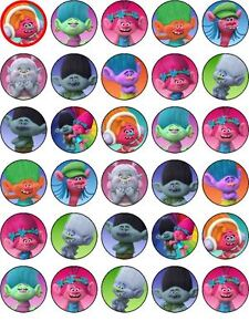 30 Trolls Edible PRECUT Cupcake Toppers Party Decoration