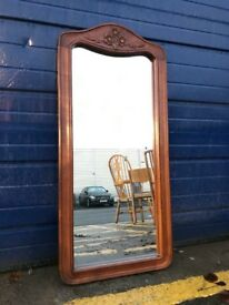 VINTAGE SOLID MAHOGANY MIRROR - ANTIQUE VINTAGE RETRO