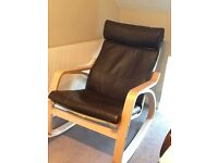 IKEA Poang Leather Rocking Chair