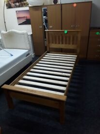 Single solid oak bed Copley Mill LOW COST MOVES 2nd Hand Furniture STALYBRIDGE SK15 3DN