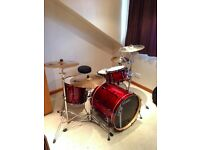 TAMA Superstar Hyperdrive Custom 4-piece drum kit in a beautiful Silk Red finish