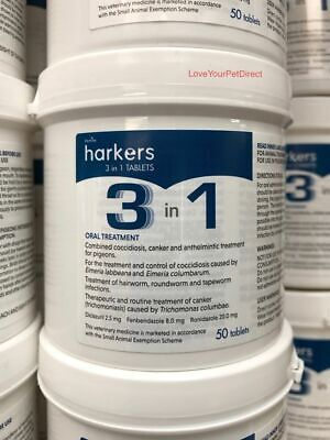 Harkers 3 in 1 Pigeon Tablets for Racing Pigeons Canker Worms Coccidiosis  BMFD