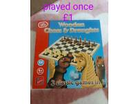 Wooden chess and draughts
