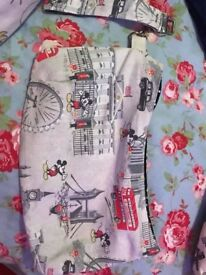 Bespoke clutch bag made with limited addition Cath Kidston/Disney mickey in London fabric