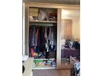 Very large wardrobe, sliding mirror doors, 295cm wide, 215cm tall, 65cm depth, with spotlights