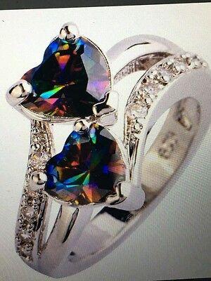 Rainbow Mystic Topaz Heart - RAINBOW MYSTIC TOPAZ DOUBLE HEART STERLING RING SIZES 6/7/8/9/10/11/12