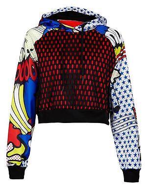 Adidas Originals Rita Ora Super Hoodie Cropped Hooded Pullover Jacket Comics