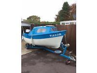 16ft boat,,trailer and engine