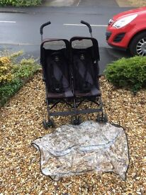 Maclaren Twin Triumph Double Buggy/Twin Stroller with raincover