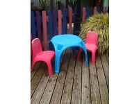 B and q table and chairs