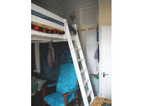 IKEA Stora Loft Bed Frame - White Stain - Double Bed