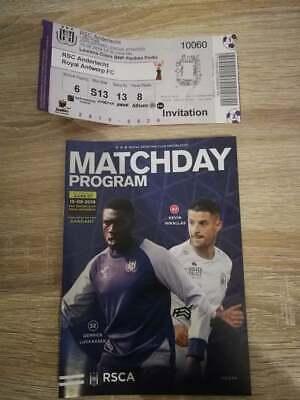 Ticket Programme RSC Anderlecht - Royal Antwerp 15.09.2019 Belgique Championnat