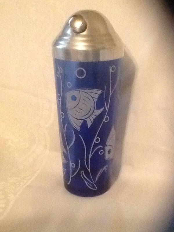 Art Deco Classic, Cobalt Blue Fish Design Cocktail Shaker  Hazel-Atlas Blue