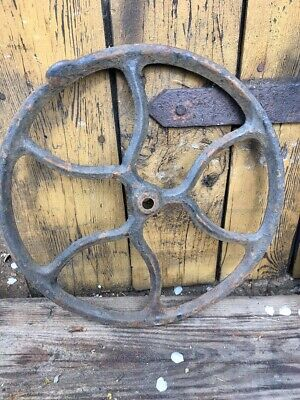4 original cast iron Singer wheels chicken hut  tractor antique vintage 31 cm