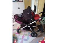 Travel system car seat+double buggy/pushchair+buggyboard+extras (joie ilevel, babyjogger city select
