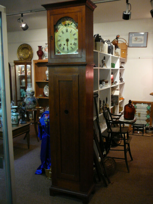 S38 ANTIQUE SHAKER STYLE CHERRY TALL CASE GRANDFATHER CLOCK