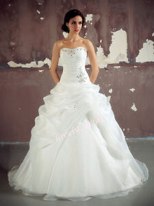 New-White-Ivory-Organza-Wedding-Dress-Bridal-Bride-Prom-Gown-Stock-Size-6-18