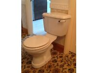 4 piece bathroom suite, toilet, hand basin, rolltop bath and shower cubicle with tray