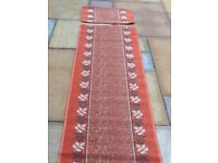 Brand new Burnt Orange Burgundy White Grey Leaf Design Runner Rug & Matching Mat 58 x 179cms