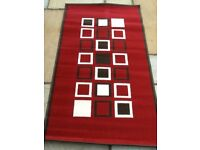 Brand new Homemaker Maestro Rug Dark Red Brown White Squares Design 148 X 80 cms