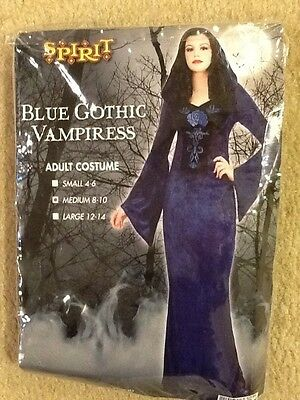 SPIRIT WOMANS BLUE GOTHIC VAMPIRESS ADULT MEDIUM 8-10 COSTUME FREE SHIPPING