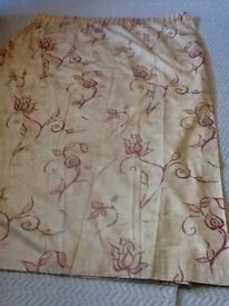 "Pair camel and burgundy curtains 6""6 drop X 10' width. £69"