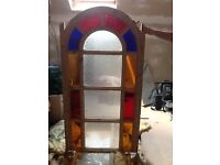 Arched stained glass window, etched glass, antique