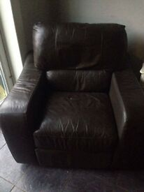 Brown real leather manual recliner chair