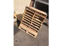 15 WOOD PALLETS. ALL FULL PALLETS IN GOOD CONDITION.