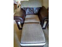 Armchair with Storage Pouffe