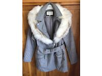 Ladies River Island grey coat, excellent as new condition. Size 14.