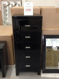 Venetian High Gloss Tallboy - RRP IS £350 -Our Price Just £195