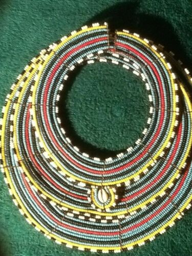 3 Piece Vintage Masai Maasai African Tribal Stone Bead Collar Wedding Necklaces