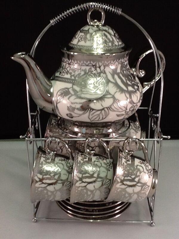 20pc Tea Set Tea Pot  6 Cups Saucers w/Rack Silver tone 3 oz cup Teapot