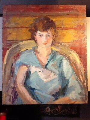 VINTAGE Mid-20th Century Oil on Canvas Portrait, LARGE 26 1/2 x 31, Fine Piece!!