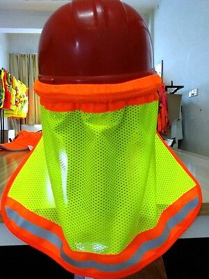 2 Safety Hard Hat Neck Shield Helmet Sun Shade Hi Vis Reflective Stripe