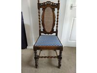 Antique Barley Twist and Bergere Dining Chairs